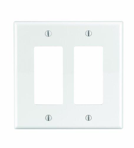 Leviton PJ262-W 2-Gang Decora/GFCI Decora Wallplate, Midway Size, White