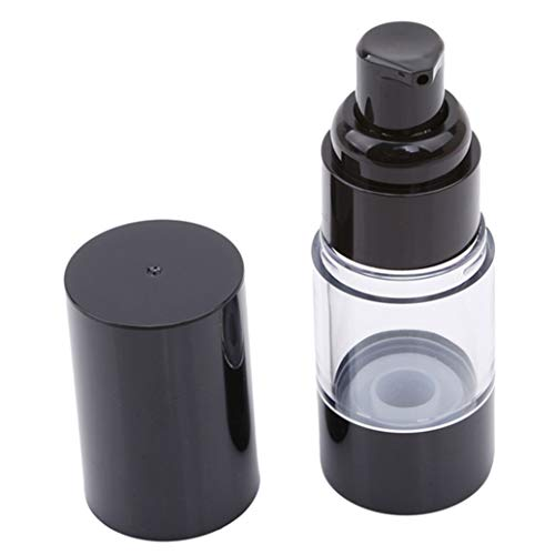 GOMYIE Vider la bouteille de lotion noire sans air avec le contenant en plastique et le distributeur de bouteilles de cosmétique dans un contenant en plastique (15ml)