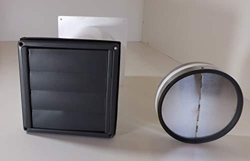 VentilationNord Mauerkasten NW150 Dunstabzug Edelstahl grau Pulverbeschichtet Rückstauklappe Teleskop Rohr MKWSQLE-G-150BDSI