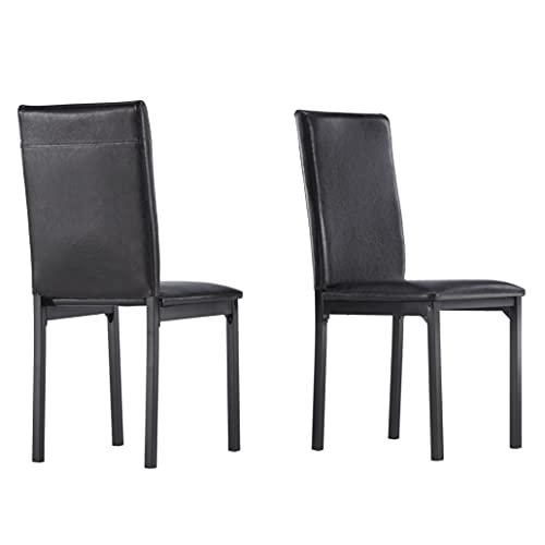 Union 5 Home Metal Upholstered Dining Chair (Set of 2) - Black PU