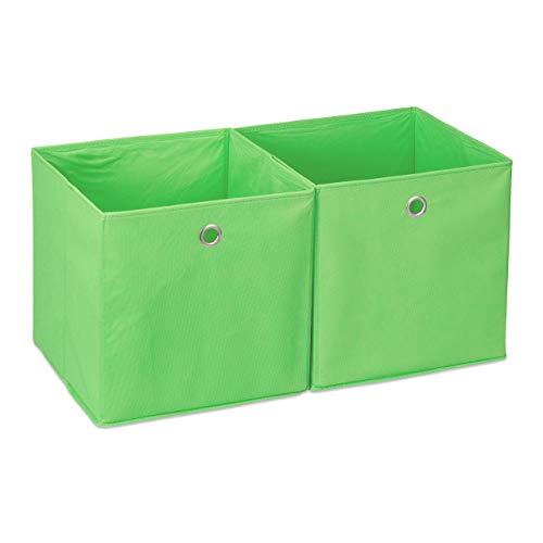 Relaxdays Caja de almacenaje, Set doble, Cuadrada, Cestas textiles, 30x30x30 cm, Verde