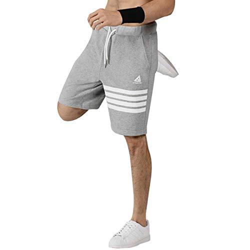 Uomo Pantaloncini sportivi Pantaloncini sportivi da running in cotone Pantaloncini da rugby da allenamento palestra con tasche Pantalone da calcio colori Grigio scuro Blu scuro (L, Grigio)