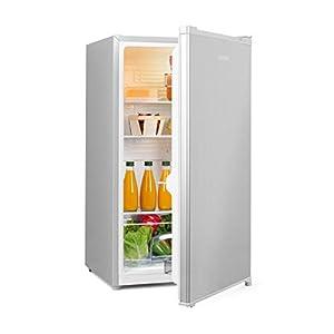 Klarstein Hudson - Réfrigérateur compact, 88L, Econome en énergie, 3 clayettes, Bac à légumes, Grand porte-boissons, Eclairage intérieur LED, Porte en inox brossé, 7 niveaux de thermostat, Argent