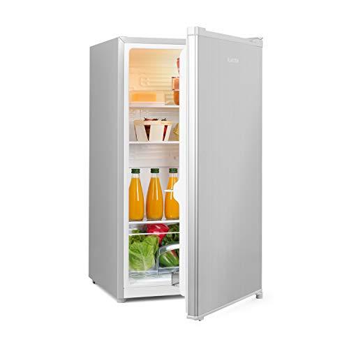 Klarstein Hudson Kühlschrank, 88 L Fassungsvermögen, Energieeffizienzklasse A++, 3 Glasböden/2 flexibel, Crisper-Fach für Gemüse, LED-Innenlicht, 3 Türfächer mit Flaschenfach bis 2 L, grau/silber