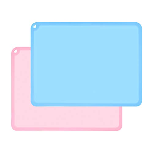 Kids Placemats, Non-Slip Silicone Placemats for Kids, Large Silicone Sheets for Crafts Resin Jewelry Casting Molds Mat, Multi-Purpose Placemat for Children Baby, 2 Pack, Baby Pink&Blue