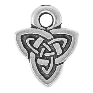 10.5x8mm Antique Silver Plated Pewter Celtic Triad Charm by TierraCast®