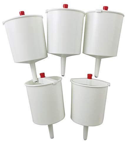 White Plastic Push Button Lever Hand Communion Cup Filler Bulk Pack for Churches 5 Inch, Set of 5