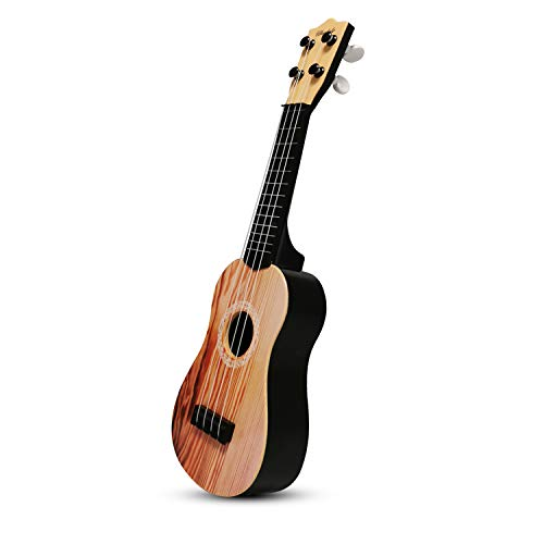 aPerfectLife 17' Kids Ukulele Guitar Toy 4 Strings Mini Guitar Children Musical Instruments Educational Learning Toys with Picks and Strap for Toddler Kids Boys Girls Beginner Starter (Brown)