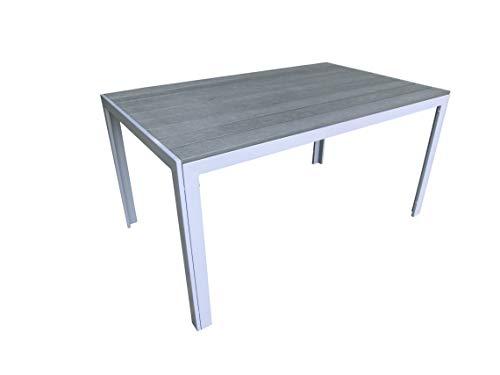 Pure Home & Garden Aluminium Gartentisch Fire XXL mit Polywood Tischplatte, 180x90 absolut wetterfest, Silber aus dem Hause