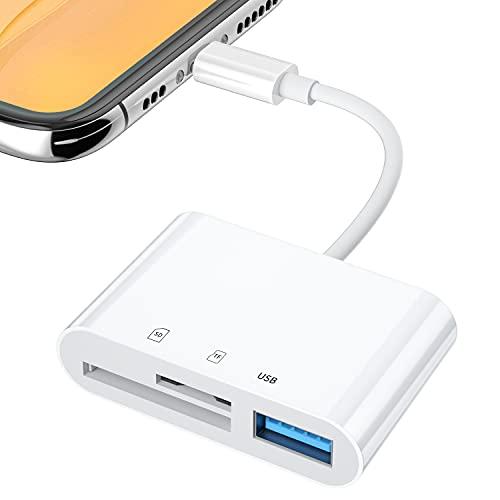 SD カードリーダー 3in1 最新 iOS13 双方向 高速データ転送 カードリーダー 写真 ビデオ データ移行 読み書き SD カード リーダー USB デジカメ カメラ SDカードカメラリーダー Micro SD/SDカード両対応 直接使用可能