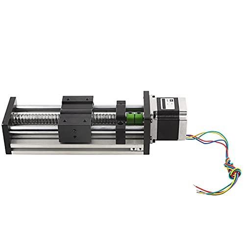 LANTRO JS - Kit de enrutador cnc de motor paso a paso de riel lineal, mesa xy, recorrido efectivo de 100 mm, mesa deslizante de riel guía de tornillo de bola 1605 + motor paso a paso Nema23 57