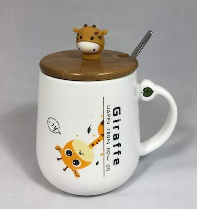 Giraffe103 - Giraffe Coffee Mug 13 Oz, Giraffe Coffee Mug Cup with Lid and Stainless Steel Spoon for Coffee Tea Milk