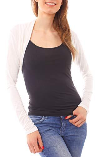 Easy Young Fashion Damen Jersey Bolero Jäckchen Schulterjäckchen Kurz Baumwolle Langarm One Size - Creme