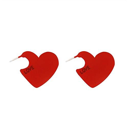 Earring Vintage Women Heart Shape Cute Drop Earrings Red Color Love Heart Statement Small Earrings for Women RedHeart