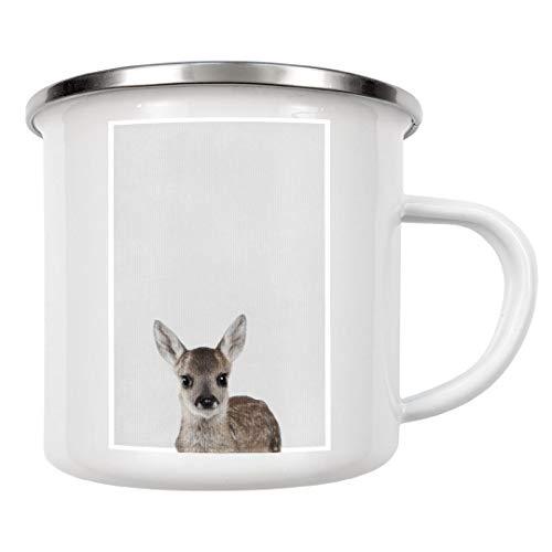 artboxONE Emaille Tasse Little Bambi von Boris Draschoff - Emaille Becher Natur