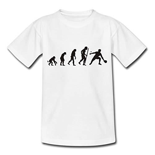 Spreadshirt Evolution Tischtennis Ping Pong Teenager T-Shirt, 152-164, Weiß