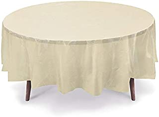 GiftExpressions 12-Pack Party Disposal Premium Plastic Tablecloth 84 Inch. Round Table Cover (Ivory, 12 Pack Round 84 Inch.)