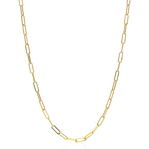 "Solid 18K Yellow Gold 2mm Paperclip Elongated Open Link Chain Necklace 16""-24"", 16"