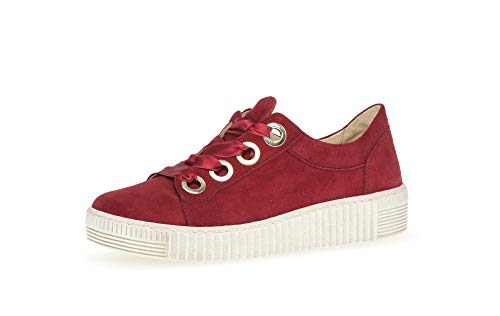 Gabor Damen Sneaker, Frauen Low-Top Sneaker,Best Fitting,Optifit- Wechselfußbett, sportschuh Plateau-Sohle Frauen weibliche Lady,Rubin,39 EU / 6 UK