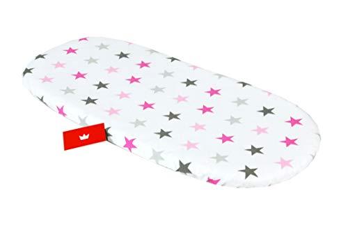BABYLUX Spannbettlaken für Kinderwagen Stubenwagen Baby Spannbetttuch Wiege Stuben Bettlaken (93. Sterne Rosa)