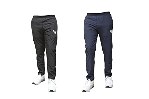 BAWLI BOOCH Out Fit Track Pant for Men Combo Pack of 2 Plain Track Pant for Men with Side Zipper Pockets Stretchable Regular Fit Track Pants Lower for Sport Gym Yoga Bottom Wear (M, Multicolor 1)