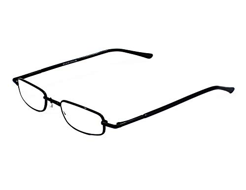 Mini Gafas de Lectura Vista Cansada Presbicia, Graduadas Dioptrías +1.00 hasta +3.50, Gafas de Hombre y Mujer Unisex con Montura Fina, Bisagras Standard, Para Leer, Ver de Cerca (+350, Negro)