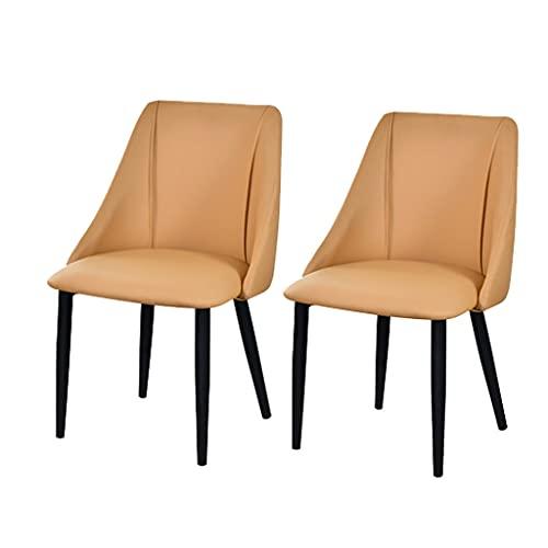 ADGEAAB Juego de 2 sillas de comedor de piel mate tapizadas sillas modernas de salón para cocina, comedor, dormitorio (color: color camel, tamaño: pies negro)