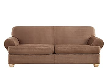 SURE FIT Ultimate Heavyweight Stretch Suede Individual 2 Piece T-Cushion Sofa Slipcover - Luggage