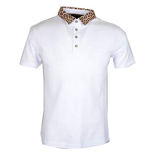 Polo Cavalli Class Cotone Panther Collar Stampa Bianco bianco XL
