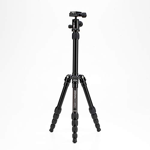 MeFOTO BackPacker Classic Lightweight 51.2' Aluminum Travel Tripod Kit w/Case, Twist Locks, Double Action Ballhead w/Arca Swiss Plate - Black (A0350Q0K)