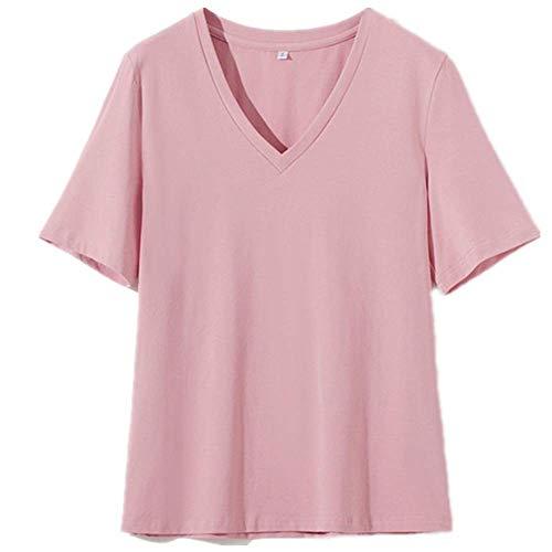 Verano con cuello en v camiseta de las mujeres de algodón básico sólido camiseta femenina manga corta Tops camiseta señoras - - X-Large