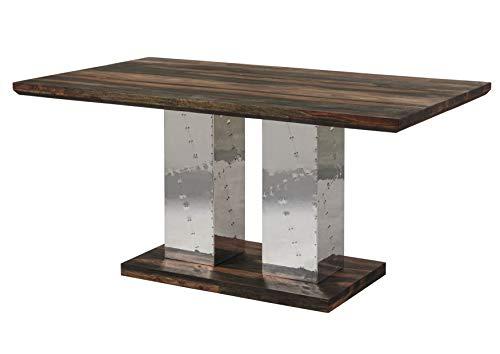 MASSIVMOEBEL24.DE Palisander Holz Möbel massiv geölt Esstisch 200x100 Sheesham Massivmöbel Holz massiv grau Pure Sheesham Strong Grey #422