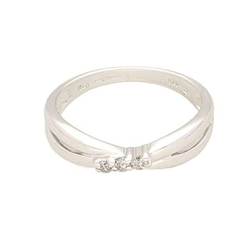 Anillo de oro blanco de 9 quilates para mujer con diamantes de 0,10 quilates (tamaño O) cabeza de 7 x 2 mm, anillo de lujo para mujer