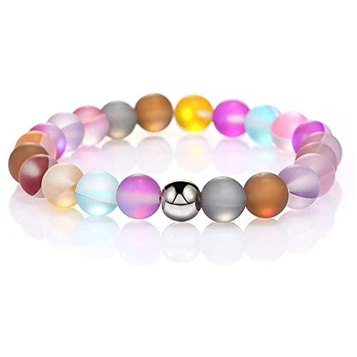 Ronda Mystic Rainbow Glass Beads Stretch Pulsera 8mm Matte Moonstone Beads Elastic Bracelet Pulsera Mujeres Joyería cuerda pulsera plata