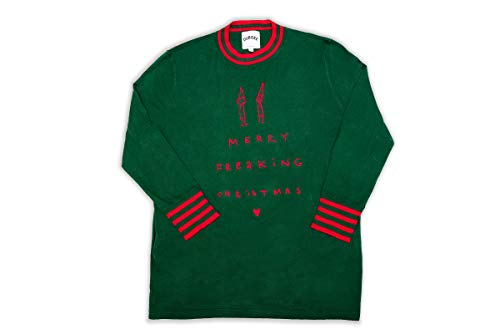 DUBGEE By Whoopi Merry Freakin Sweater Dark Green