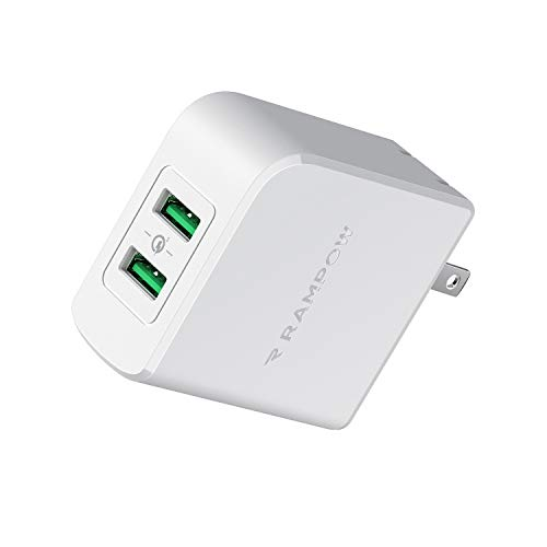 Rampow USB急速充電器 android 充電器【39W/QC 3.0対応/2ポート/PSE認証済】usb 充電器 折りたたみ式プラグ搭載 iPhone/iPad/Galaxy S9/ Xperia XZ1 その他Android各種対応 充電アダプター iphone 充電器 海外旅行(ホワイト)