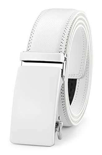 GFG Cinturón de cuero para hombres con hebilla automática 35mm Ancho-0051-140-Blanco