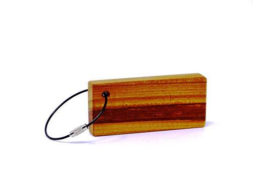 Woodenarts Schlüsselanhänger aus Holz handgemacht Kirsche mit einem schwarzen Kunststoff ummantelten Edelstahlseil/Länge ca. 8,5 cm/Breite ca. 4 cm/Stärke ca. 1 cm &Auto/Wohnung/Haustüre/Schlüssel