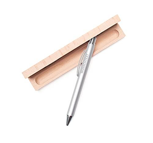 Kugelschreiber mit Gravur zur bestandenen Prüfung | Geschenk personalisiert mit Namen | personalisierter Kulli mit Namensgravur für Männer und Frau oder Ärzte und den Azubi | Promotion Stifte (Silber)