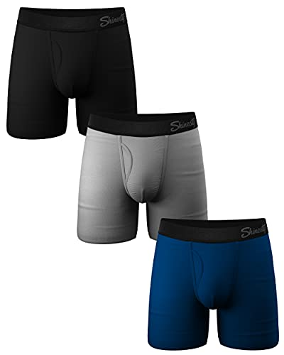 Shinesty Mens Underwear with Pouch, Supportive Ball Hammock Boxer Briefs for Men w/Fly, Super Soft Underwear, Mens Boxer Briefs Underwear Pack of 3 XX-Large Multicoloured Black/Grey/Navy