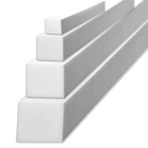 sunnypillow Schaumstoffstreifen Matratzenverlängerung aus Schaumstoff Polster Zuschnitt 10 x 10 x 200 cm RG 25/44 Matratzenausgleich in vielen Größen zur Auswahl