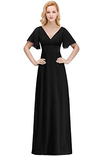 Babyonlinedress Damen Elegante Cocktailkleid Chiffon Brautmutterkleid Rockabilly Übergröße Abendkleid Schwarz GR. 48