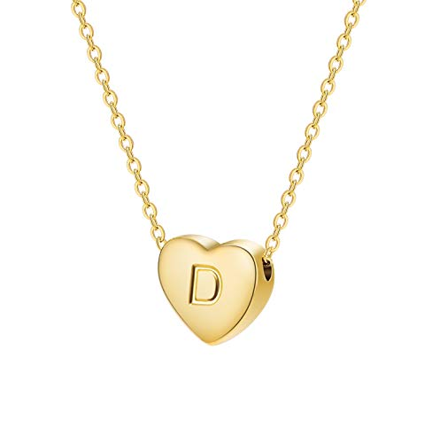 Dainty Heart Initial Necklace Letters D Alphabet Pendant Necklace Small Heart 18K Real Gold Plated Personalized Necklace for Girl Women