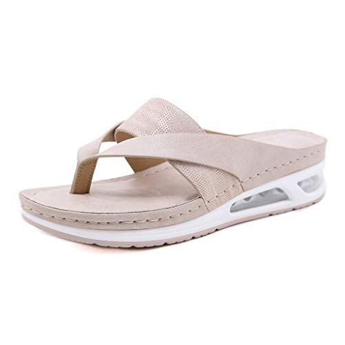 Sandalias con Punta Abierta para Mujer Sandalia de Plataforma Zapatos de Cuña Cómodos Zapatillas de Playa Verano Sandalias Zuecos Zapatos Zapatillas de Cuero para Mujer Air Zapatos