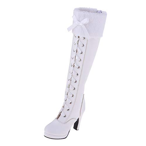 Fenteer Modepuppe PU High Heels Overknees Stiefel Schnürstiefel mit Pfennigabsatz Für 1/3 BJD Puppen Kleidung Zubehör - Weiß