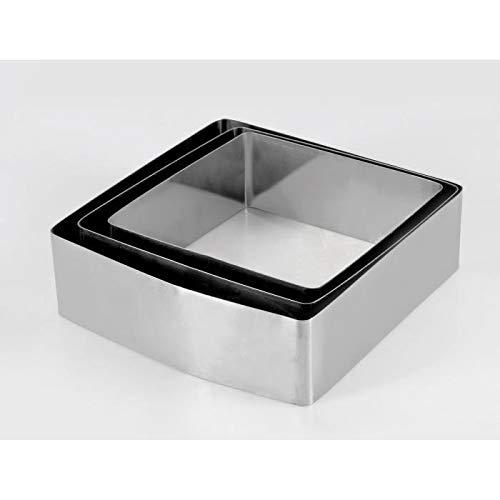 Equinox 516608 Lot de 3 moules à gâteau INOX Forme carrée 16-18-20 cm Hauteur 6 cm, Acier Inoxydable, 0 cm