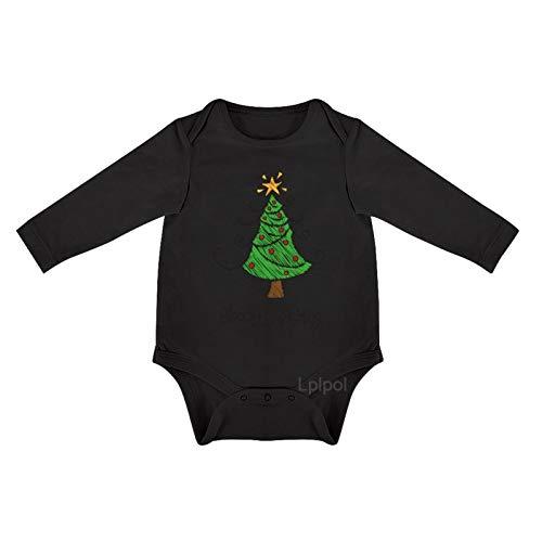 Lplpol - Mono de algodón para bebé, diseño de árbol de Navidad con manga larga, para unisex, para bebés y niñas, 0s8lk12cl6um - negro - 3-6 meses