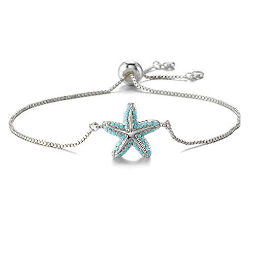 NEWBUY Trendy Starfish Charm Bracelets for Women Girl Turquoise Pave Setting Bracelet Adjustable Length Female Party Jewelry Best Gift for Birthday (White Gold)