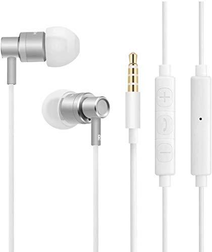 Auriculares de Alta fidelidad Auriculares para Smartphone In Ear Auriculares con Aislamiento acústico con micrófono y Mando a Distancia para Audio-(Blanco)