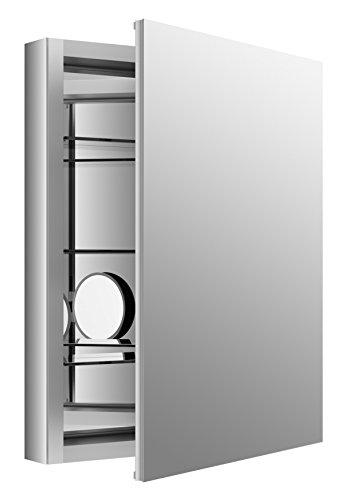 """KOHLER K-99007-SCF-NA Aluminum Verdera Medicine Cabinet with Adjustable flip-Out Flat Mirror, 24"""" W x 30"""" H"""